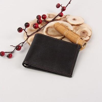 Портмоне мужское, зажим для денег, 2 отдела, для карт, откидной держатель, ладья, цвет коричневый