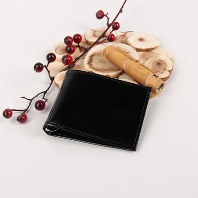 Портмоне мужское, зажим для денег, 2 отдела, для карт, откидной держатель, шик, цвет чёрный