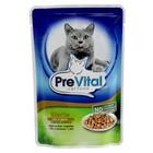 Влажный корм PreVital Classic для стеризизованных кошек, печень в соусе, пауч, 100 г