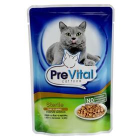 Влажный корм PreVital Classic для стерилизованных кошек, печень в соусе, пауч, 100 г