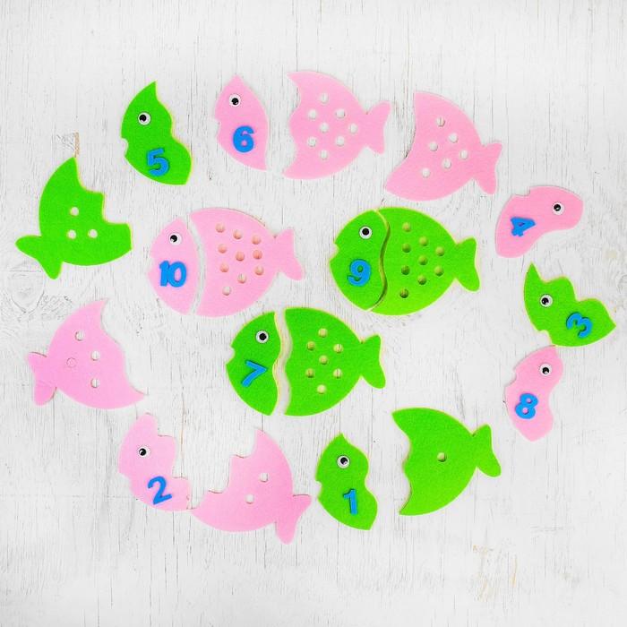 Обучающие счёту элементы «Рыбки» из фетра, размер 1 шт: 15 × 11 см