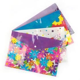 Folder envelope A4 button 180mcr MIX Flowers