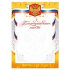 Благодарственное письмо, РФ символика, золото, 21х29,7 см