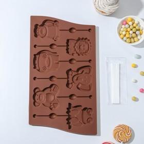 Форма для леденцов и мороженого Доляна «Звери», 27,5×16,5 см, 6 ячеек, с палочками, цвет шоколадный