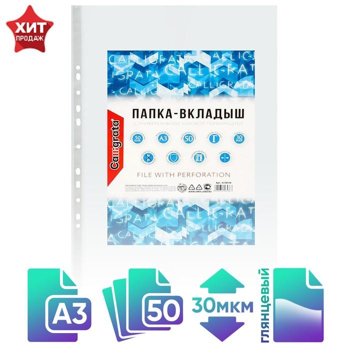 Файл-вкладыш А3, 30 мкм Calligrata, глянцевый, вертикальный, упаковка 50 шт.