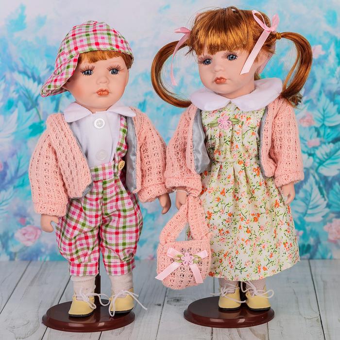 """Кукла коллекционная парочка """"Есения и Евгений"""" (набор 2 шт) 30 см"""