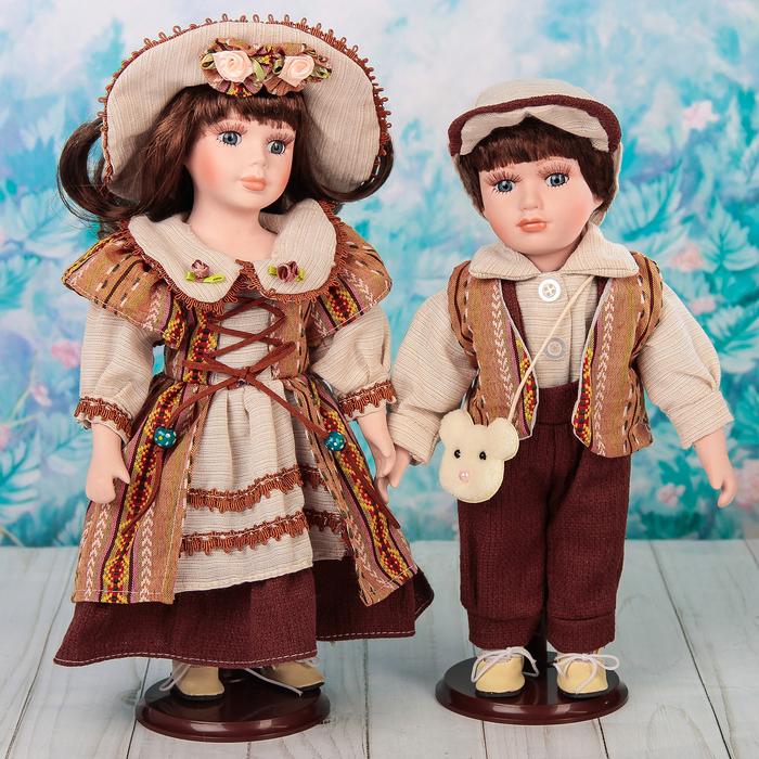 """Кукла коллекционная парочка """"Аглая и Артём"""" (набор 2 шт) 30 см"""