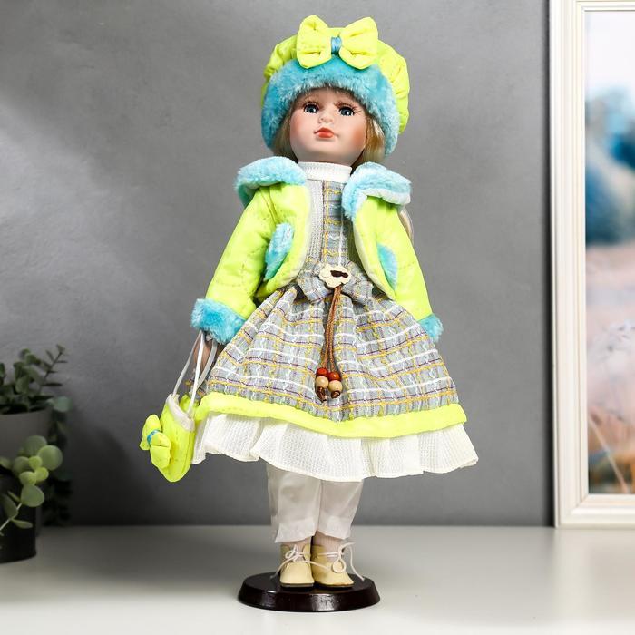 """Кукла коллекционная """"Цветана в нежно-зелёном"""" 40 см"""