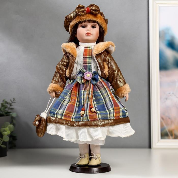 """Кукла коллекционная """"Цветана в коричневом"""" 40 см"""