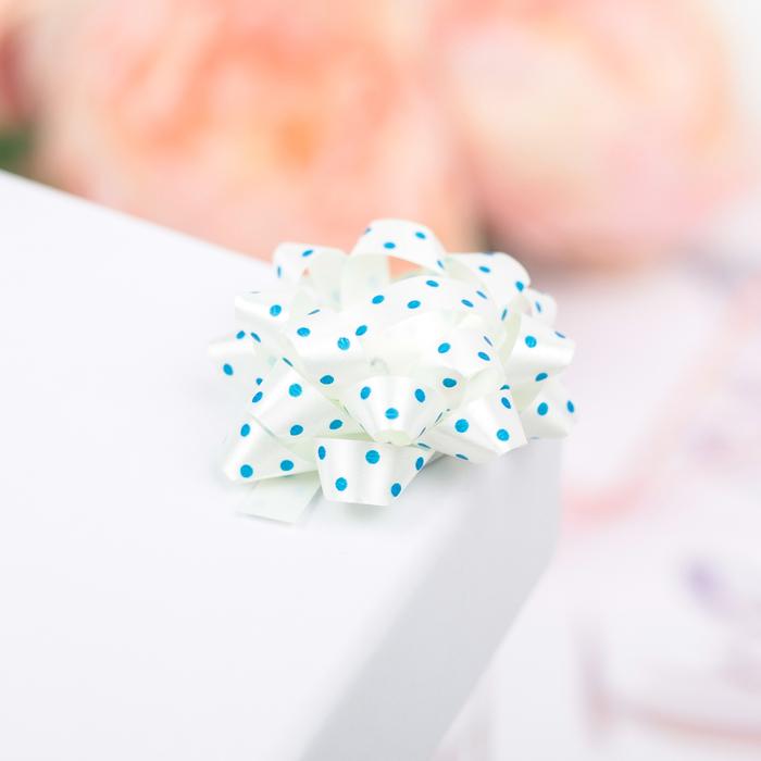 Бант-звезда №3,5 (ФАСОВКА 8 ШТ) синий горошек на белом - фото 8444448