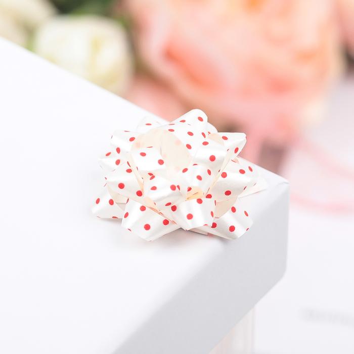 Бант-звезда №3,5 (ФАСОВКА 8 ШТ) красный горошек на белом - фото 8444449