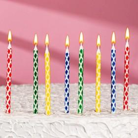 Свечи в торт 'Ромбик' , 14см, 8шт с подставкой Ош