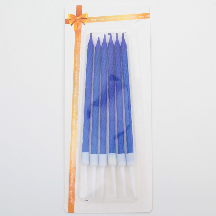 "Свечи в торт ""Металлик"" , 14см, 6шт с подставкой, синие - фото 35609254"