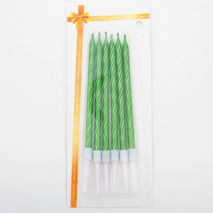 """Свечи в торт """"Металлик"""" , 14см, 6шт с подставкой, зелёные - фото 35609256"""