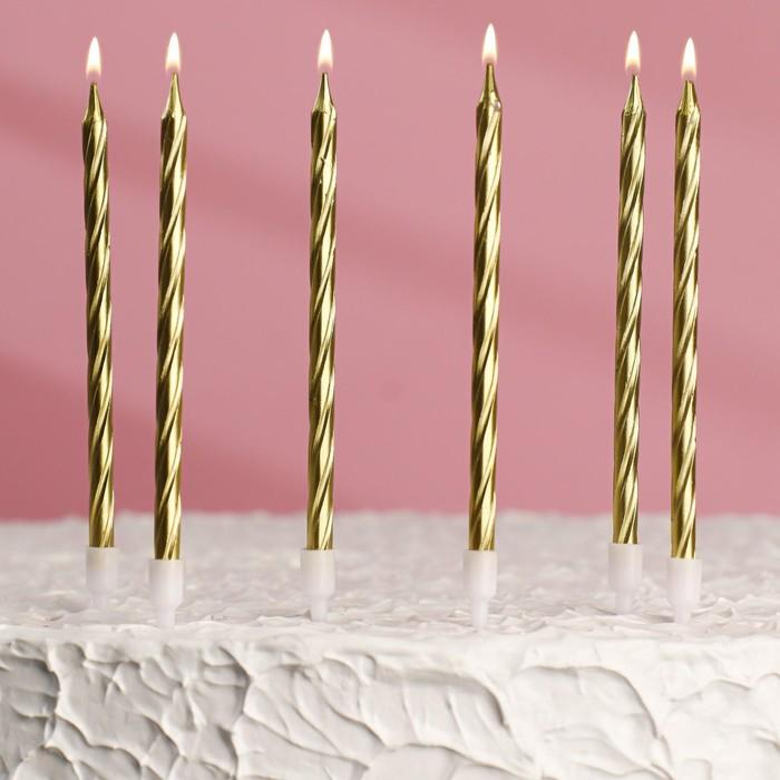 """Свечи в торт """"Металлик"""" , 14см, 6шт с подставкой, золотистые - фото 35609258"""