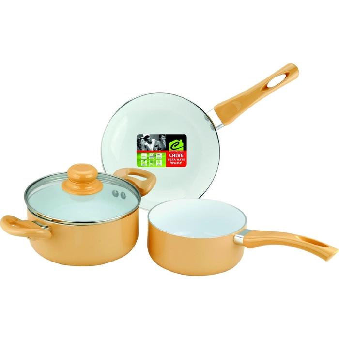 Набор посуды CALVE, 3 предмета  керамическое покрытие, МИКС     УЦЕНКА