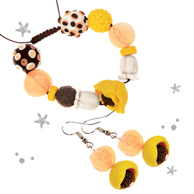 "Jewelry from polymer clay ""Yellow poppies"", set: bracelet and earrings"