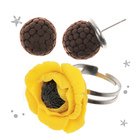 "Jewelry from polymer clay ""Yellow poppies"", set: ring and earrings"