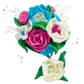 """Brooch made of polymer clay with your hands """"Flowers"""""""