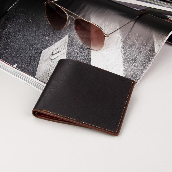 Кошелёк мужской, 2 отдела, для карт, для монет, для sim-карты, цвет коричневый