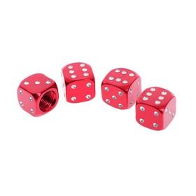 Колпачки на вентиль TORSO кубик, красные, набор 4 шт.