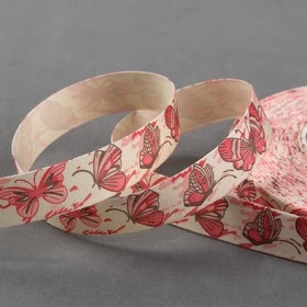 Лента хлопковая «Бабочки», 15 мм, 19 ± 1 м, цвет бежевый/красный