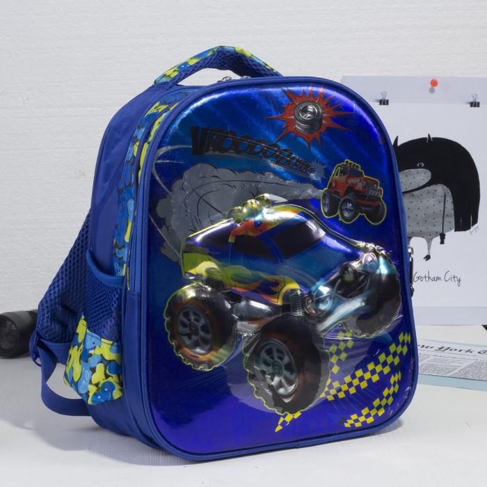 Рюкзак школьный, 2 отдела на молниях, 2 боковые сетки, цвет синий - фото 405940368
