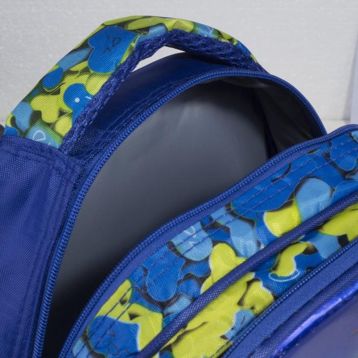 Рюкзак школьный, 2 отдела на молниях, 2 боковые сетки, цвет синий - фото 405940370
