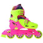 Роликовые коньки раздвижные, колеса PVC 64 мм, пластиковая рама, green/pink р.30-33