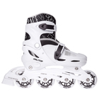 Роликовые коньки раздвижные, колеса PVC 64 мм, пластиковая рама, white/black р.30-33
