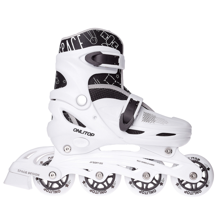 Роликовые коньки раздвижные, колеса PVC 64 мм, пластиковая рама, white/black, размер 30-33