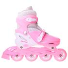 Роликовые коньки раздвижные, колеса PVC 64 мм, пластиковая рама, pink/white р.30-33