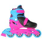 Роликовые коньки раздвижные, колеса PVC 64 мм, пластиковая рама, black/blue/pink р.30-33