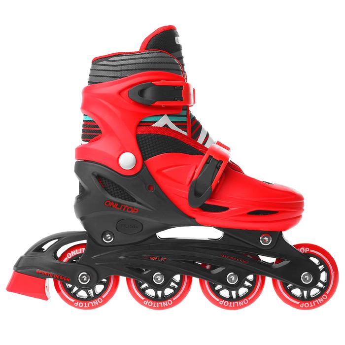 Роликовые коньки раздвижные, колеса PVC 64 мм, пластиковая рама, red/black, размер 30-33