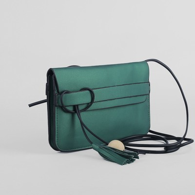 Bag, 2 Department flap, long strap, green