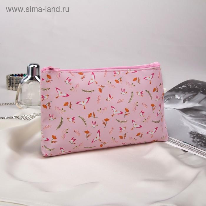 Косметичка простая «Птицы», отдел на молнии, цвет розовый