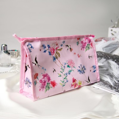 Косметичка «Орхидеи», отдел на молнии, цвет розовый