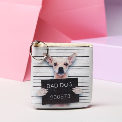 "Purse ""Dog law"", the Department with zipper, with ring, color white/black"