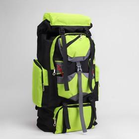 Рюкзак турист Горы, 38*20*75, отд на шнурке, 7 н/карманов, усил спинка, чёрный/зелёный Ош