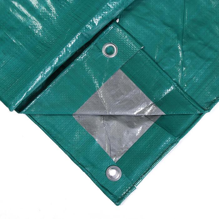 Тент защитный, 4 × 3 м, плотность 120 г/м², люверсы шаг 1 м, зелёный/серебристый