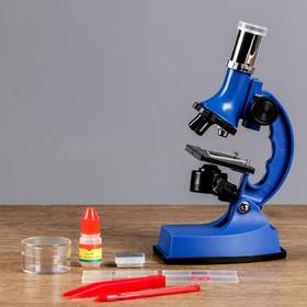Микроскоп, кратность увеличения 600х, 300х, 100х, с подсветкой, 2АА, синий