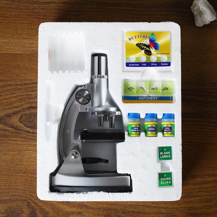 """Микроскоп """"Лаборатория"""" 4 стекла, пинцет, 5 пленок, 5 листов бумаги, жидкость - индикатор, цвета МИКС"""