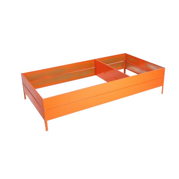 Грядка оцинкованная, 295 × 100 × 34 см, оранжевая, Greengo