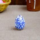 Egg Gzhel, white, 7 cm