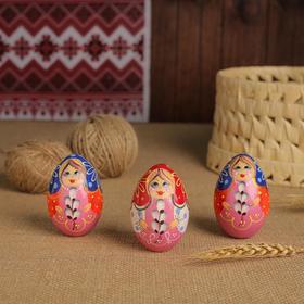 Яйцо «Матрёшка с вербой, 7 см, микс