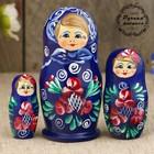 "Matryoshka ""Rosettes"", dark blue dress, 3 doll 9 cm"