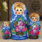 "Matryoshka ""Tenderness"", blue dress, 3 doll 9 cm"