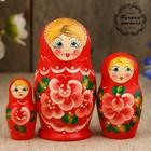 "Matryoshka ""Flowers"", red dress, 3 doll 9 cm"