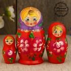 Матрёшка «Цветочки», фиолетовый платок, красное платье, 3 кукольная, 9 см