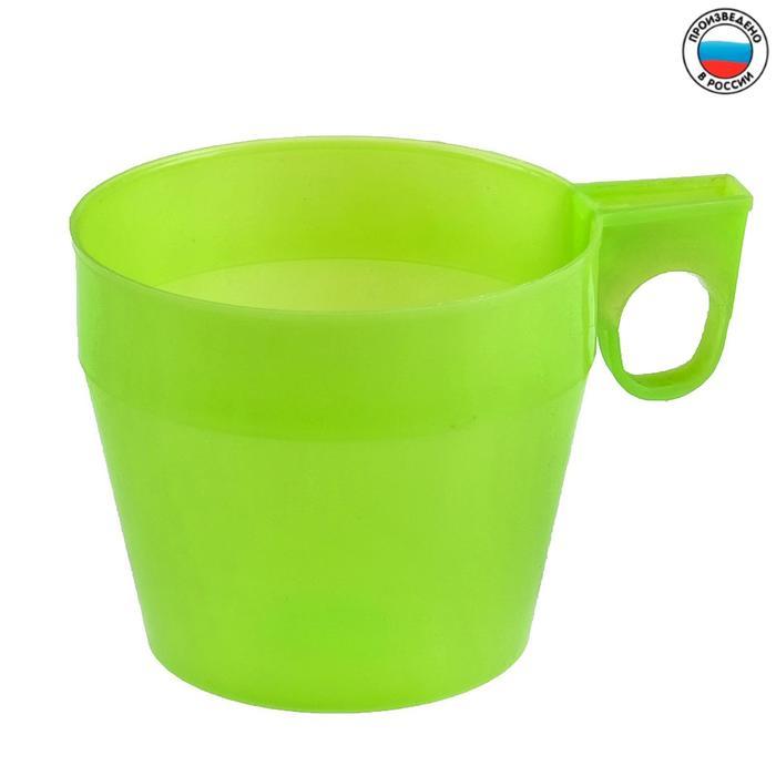 Кружка 250 мл, детская, пластиковая, цвет зелёный